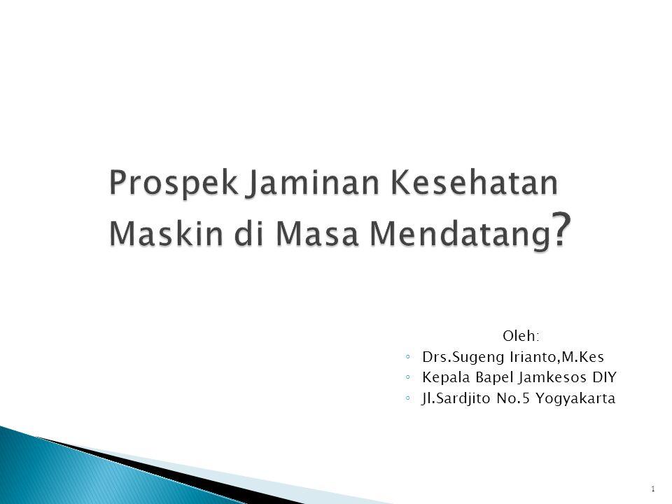 Oleh: ◦ Drs.Sugeng Irianto,M.Kes ◦ Kepala Bapel Jamkesos DIY ◦ Jl.Sardjito No.5 Yogyakarta 1
