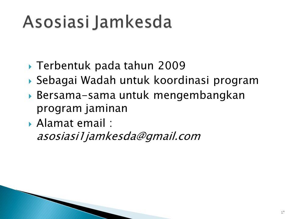  Terbentuk pada tahun 2009  Sebagai Wadah untuk koordinasi program  Bersama-sama untuk mengembangkan program jaminan  Alamat email : asosiasi1jamkesda@gmail.com 17