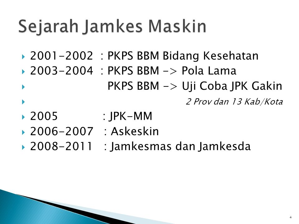  2001-2002 : PKPS BBM Bidang Kesehatan  2003-2004 : PKPS BBM -> Pola Lama  PKPS BBM -> Uji Coba JPK Gakin  2 Prov dan 13 Kab/Kota  2005 : JPK-MM  2006-2007 : Askeskin  2008-2011 : Jamkesmas dan Jamkesda 4
