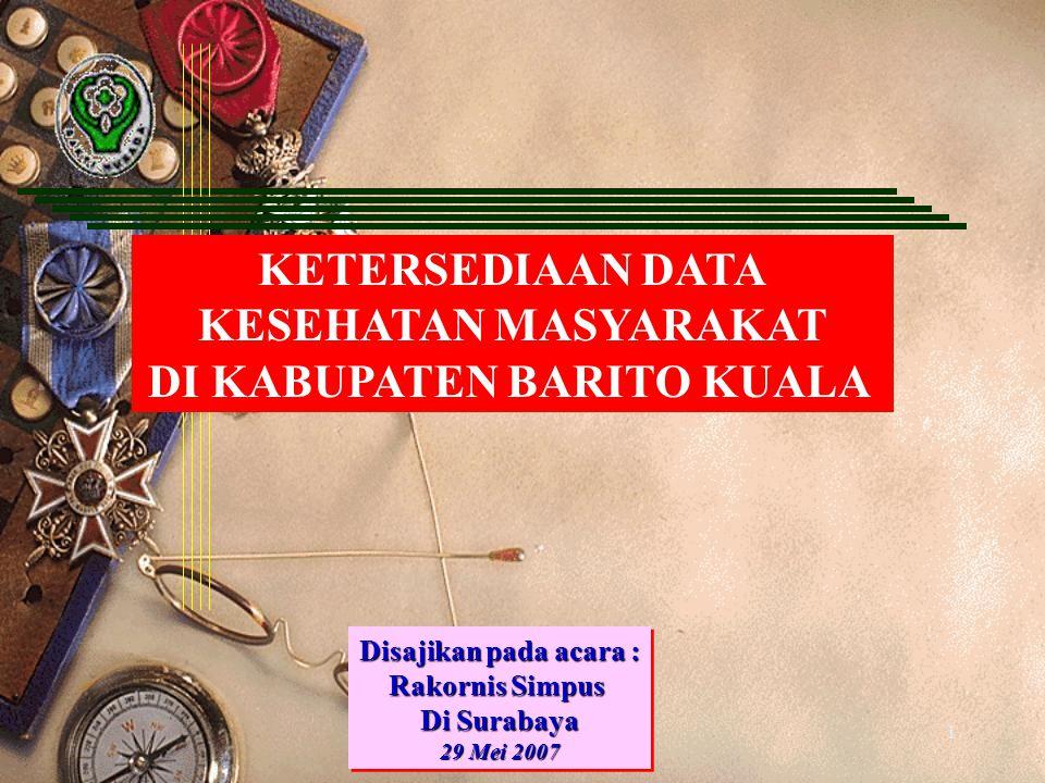 1 KETERSEDIAAN DATA KESEHATAN MASYARAKAT DI KABUPATEN BARITO KUALA Disajikan pada acara : Rakornis Simpus Di Surabaya 29 Mei 2007 Disajikan pada acara