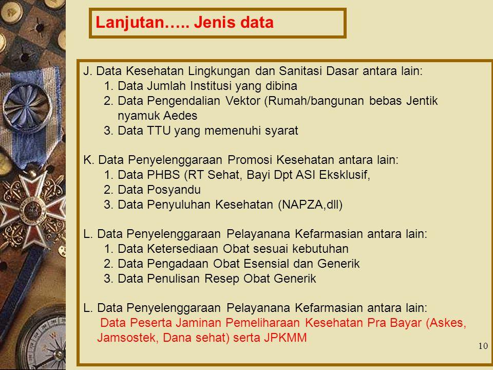 10 J. Data Kesehatan Lingkungan dan Sanitasi Dasar antara lain: 1. Data Jumlah Institusi yang dibina 2. Data Pengendalian Vektor (Rumah/bangunan bebas