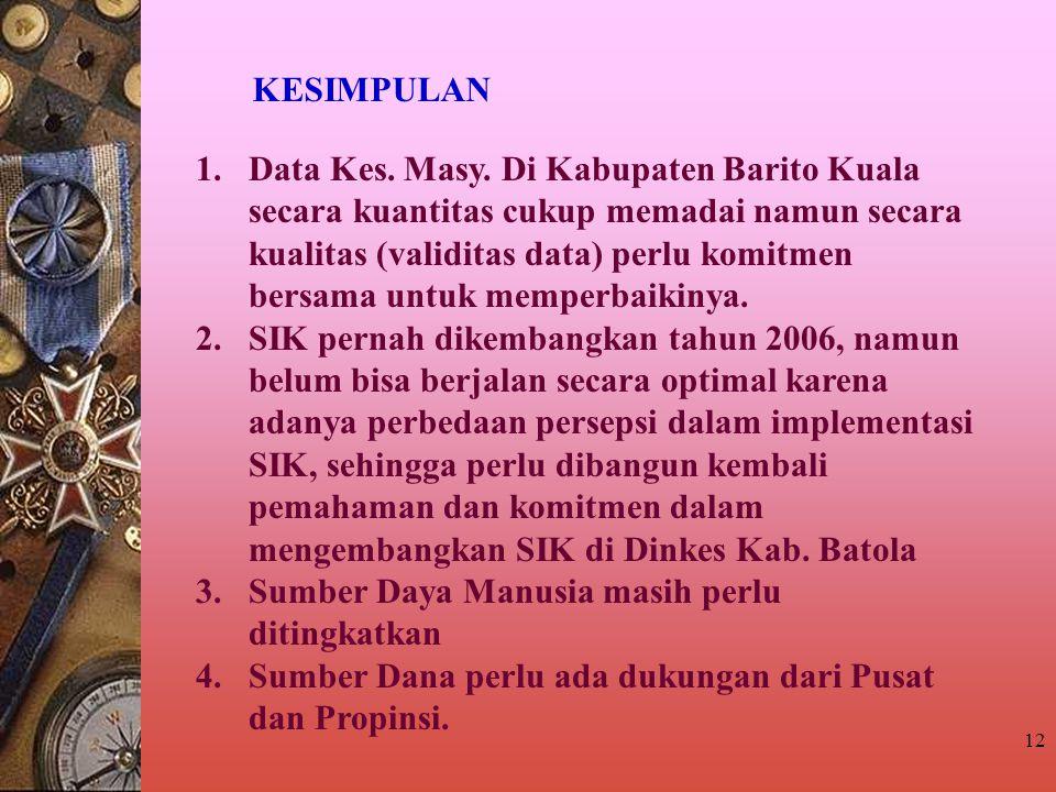 12 KESIMPULAN 1.Data Kes. Masy. Di Kabupaten Barito Kuala secara kuantitas cukup memadai namun secara kualitas (validitas data) perlu komitmen bersama