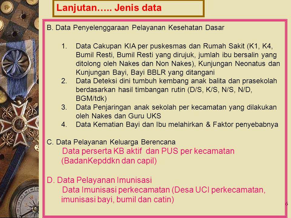 6 Lanjutan….. Jenis data B. Data Penyelenggaraan Pelayanan Kesehatan Dasar 1.Data Cakupan KIA per puskesmas dan Rumah Sakit (K1, K4, Bumil Resti, Bumi