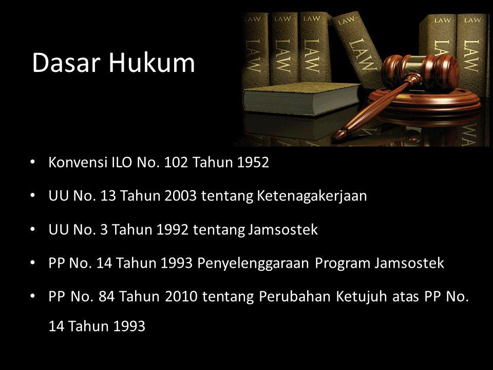 Dasar Hukum Konvensi ILO No. 102 Tahun 1952 UU No. 13 Tahun 2003 tentang Ketenagakerjaan UU No. 3 Tahun 1992 tentang Jamsostek PP No. 14 Tahun 1993 Pe