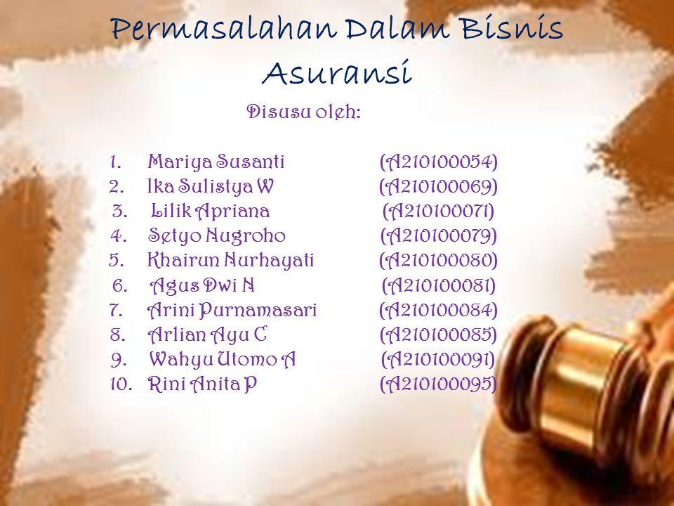 Masalah-masalah asuransi di indonesia 1.Susahnya mengurus administrasi di JAMSOSTEK 2.JAMSOSTEK terkait banyak kasus korupsi 3.Pelayanan yang sangat buruk oleh JAMSOSTEK 4.Undang-undang saat ini mewajibkan seluruh perusahaan di Indonesia untuk ikut dalam JAMSOSTEK (dari pegawai bawah hingga direktur) tanpa jelas apa yang diperoleh dari JAMSOSTEK dan jeleknya pelayanan JAMSOSTEK.