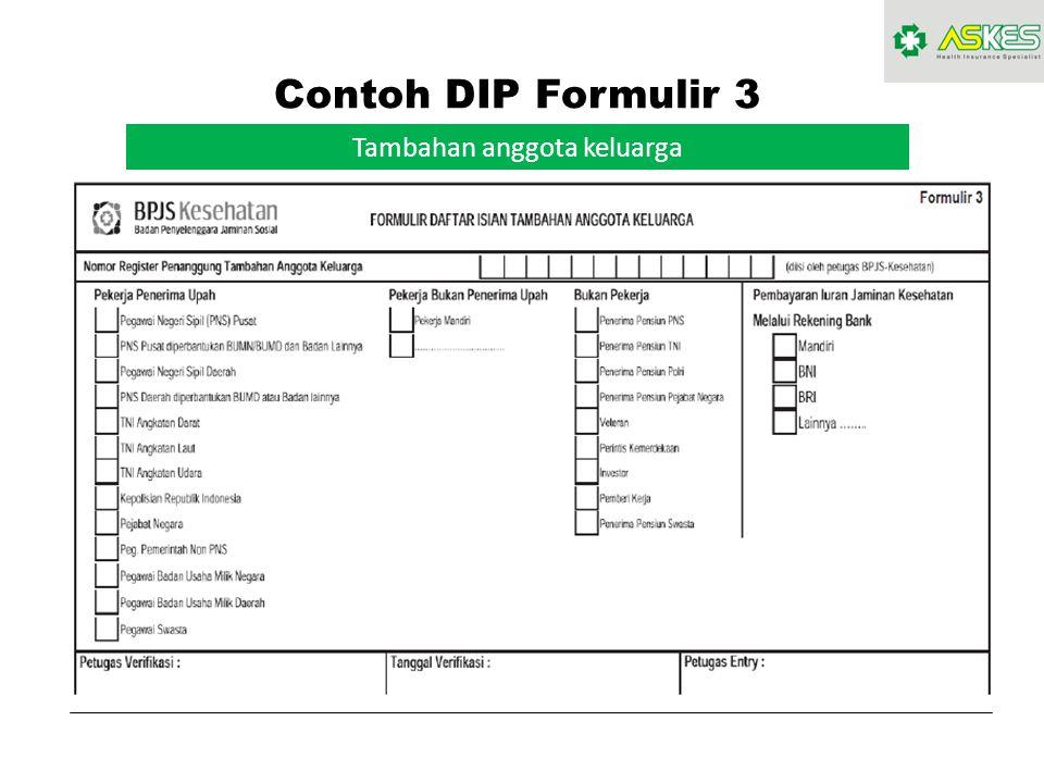 Contoh DIP Formulir 3 Tambahan anggota keluarga