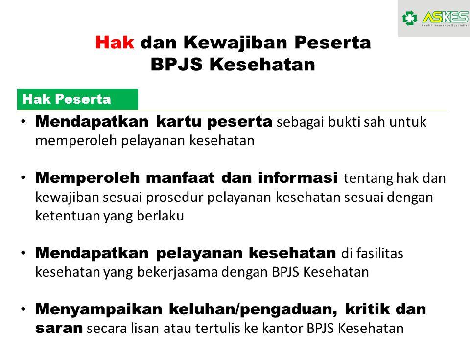 Hak dan Kewajiban Peserta BPJS Kesehatan Hak Peserta Mendapatkan kartu peserta sebagai bukti sah untuk memperoleh pelayanan kesehatan Memperoleh manfa