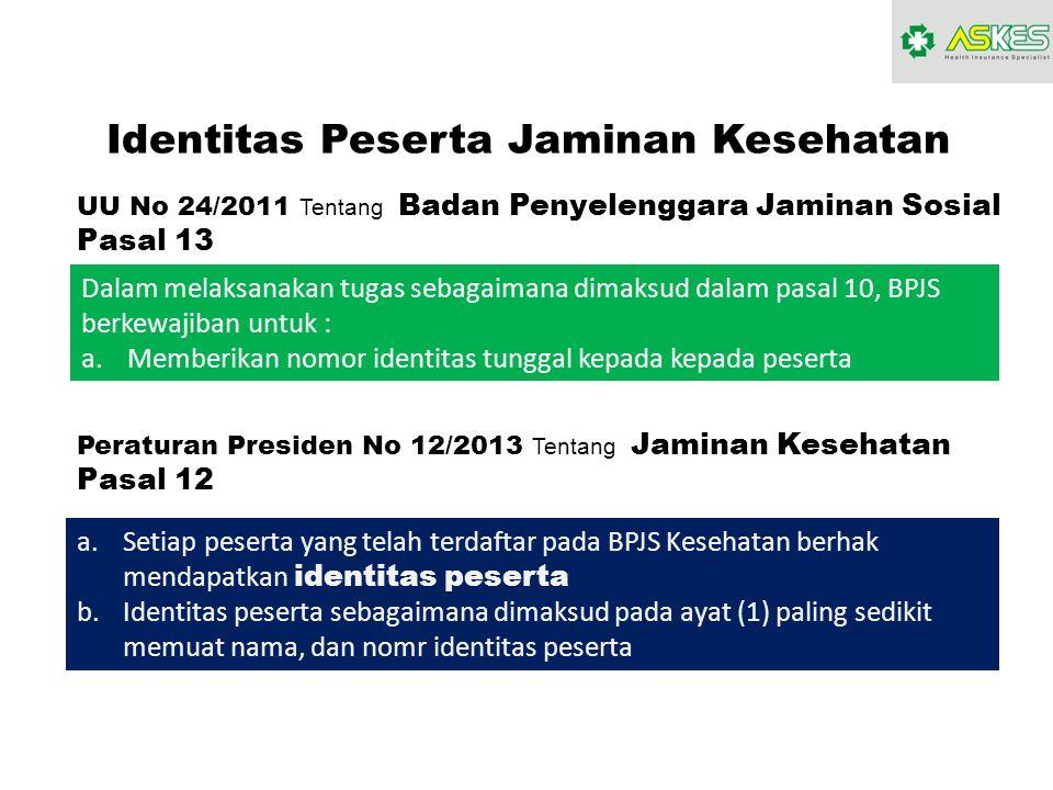 Identitas Peserta Jaminan Kesehatan UU No 24/2011 Tentang Badan Penyelenggara Jaminan Sosial Pasal 13 Dalam melaksanakan tugas sebagaimana dimaksud da