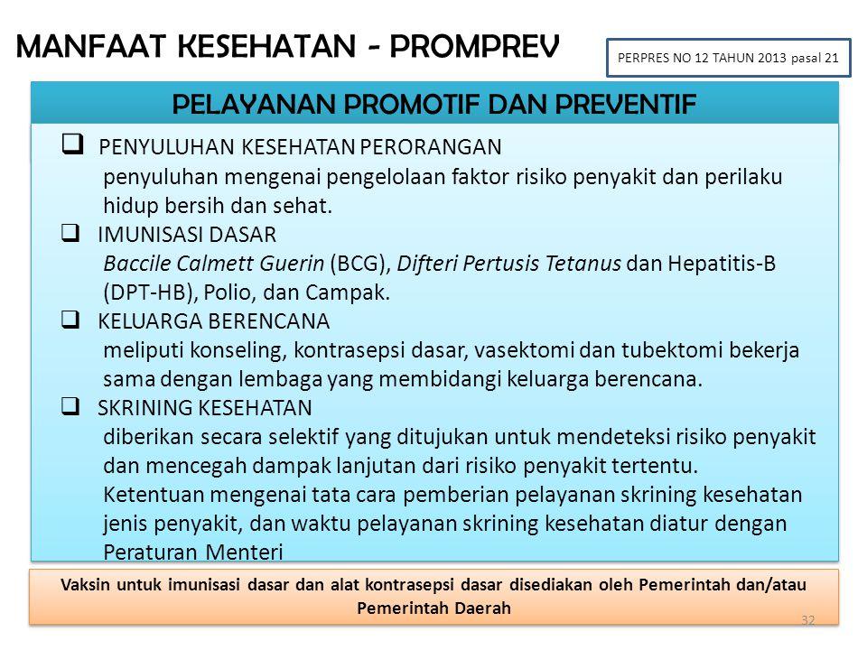 PELAYANAN PROMOTIF DAN PREVENTIF MANFAAT KESEHATAN - PROMPREV PERPRES NO 12 TAHUN 2013 pasal 21  PENYULUHAN KESEHATAN PERORANGAN penyuluhan mengenai