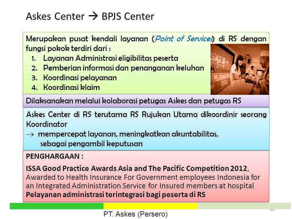 Merupakan pusat kendali layanan (Point of Services) di RS dengan fungsi pokok terdiri dari : 1.Layanan Administrasi eligibilitas peserta 2.Pemberian i