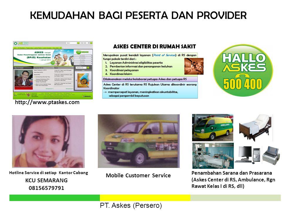 KEMUDAHAN BAGI PESERTA DAN PROVIDER http://www.ptaskes.com Hotline Service di setiap Kantor Cabang Penambahan Sarana dan Prasarana (Askes Center di RS