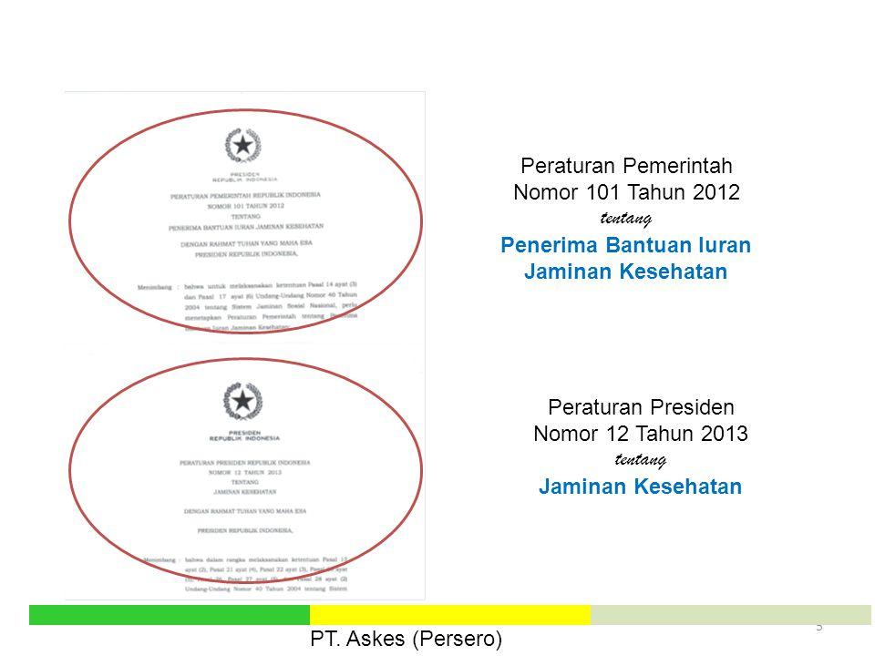 5 Peraturan Pemerintah Nomor 101 Tahun 2012 tentang Penerima Bantuan Iuran Jaminan Kesehatan Peraturan Presiden Nomor 12 Tahun 2013 tentang Jaminan Ke
