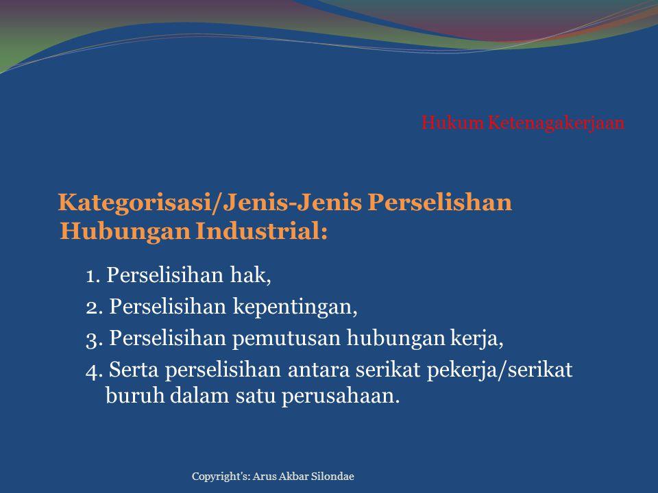 Hukum Ketenagakerjaan Kategorisasi/Jenis-Jenis Perselishan Hubungan Industrial: 1. Perselisihan hak, 2. Perselisihan kepentingan, 3. Perselisihan pemu
