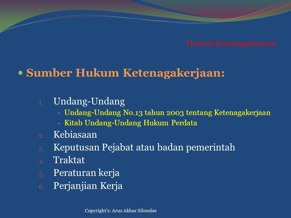 Hukum Ketenagakerjaan Sumber Hukum Ketenagakerjaan: 1. Undang-Undang Undang-Undang No.13 tahun 2003 tentang Ketenagakerjaan Kitab Undang-Undang Hukum