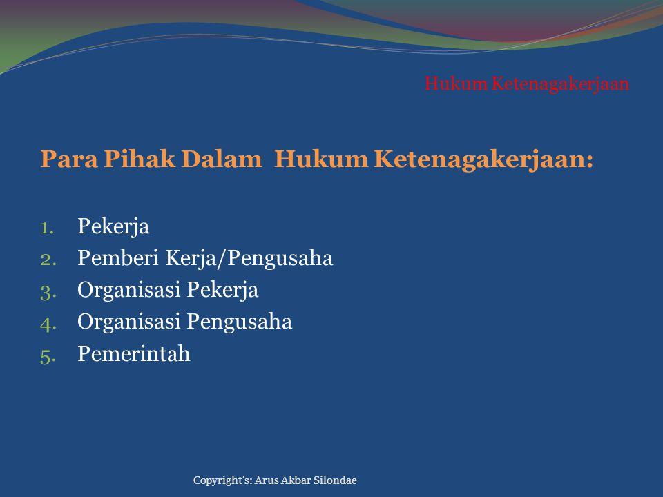 Hukum Ketenagakerjaan Para Pihak Dalam Hukum Ketenagakerjaan: 1. Pekerja 2. Pemberi Kerja/Pengusaha 3. Organisasi Pekerja 4. Organisasi Pengusaha 5. P