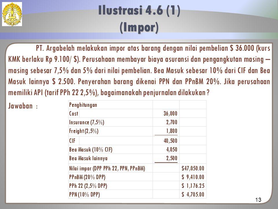 PT. Argabelah melakukan impor atas barang dengan nilai pembelian $ 36.000 (kurs KMK berlaku Rp 9.100/ $). Perusahaan membayar biaya asuransi dan penga