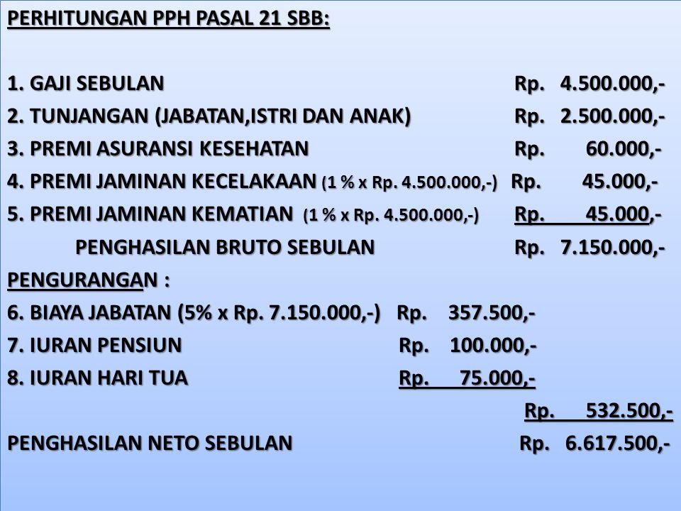 PERHITUNGAN PPH PASAL 21 SBB: 1. GAJI SEBULAN Rp. 4.500.000,- 2. TUNJANGAN (JABATAN,ISTRI DAN ANAK) Rp. 2.500.000,- 3. PREMI ASURANSI KESEHATAN Rp. 60