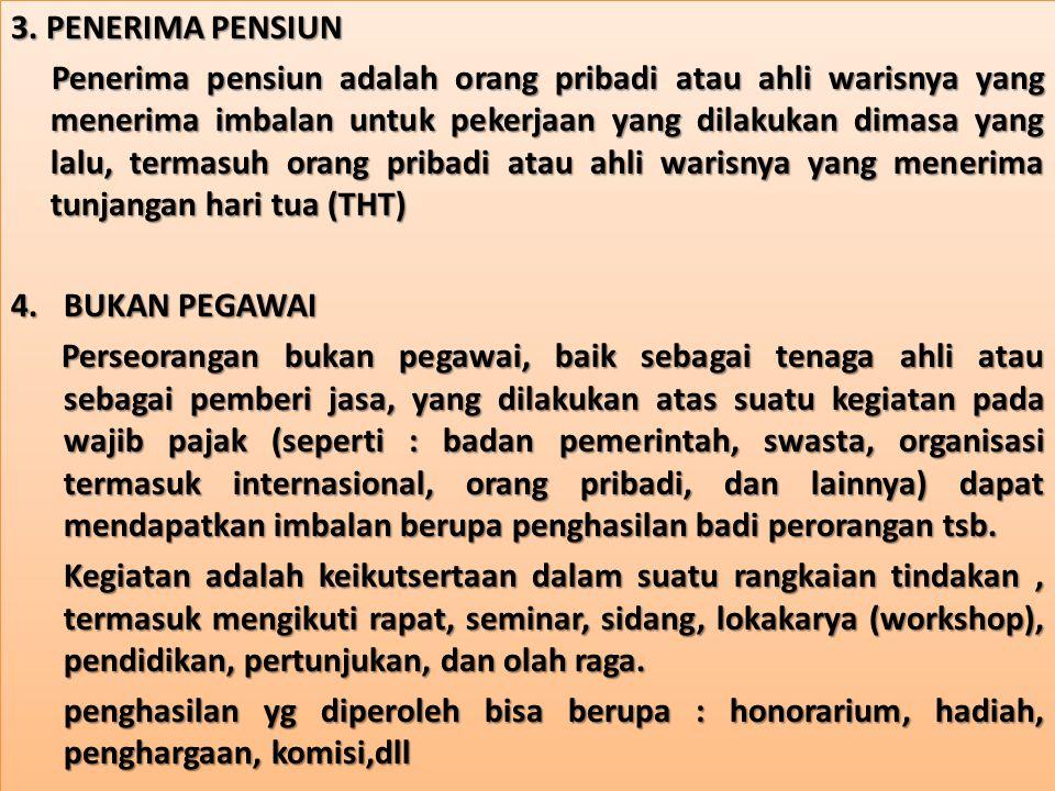 TIDAK TERMASUK WAJIB PAJAK PPh PASAL 21 1.Pejabat perwakilan diplomatik dan konsulat atau pejabat lain dari negara asing.