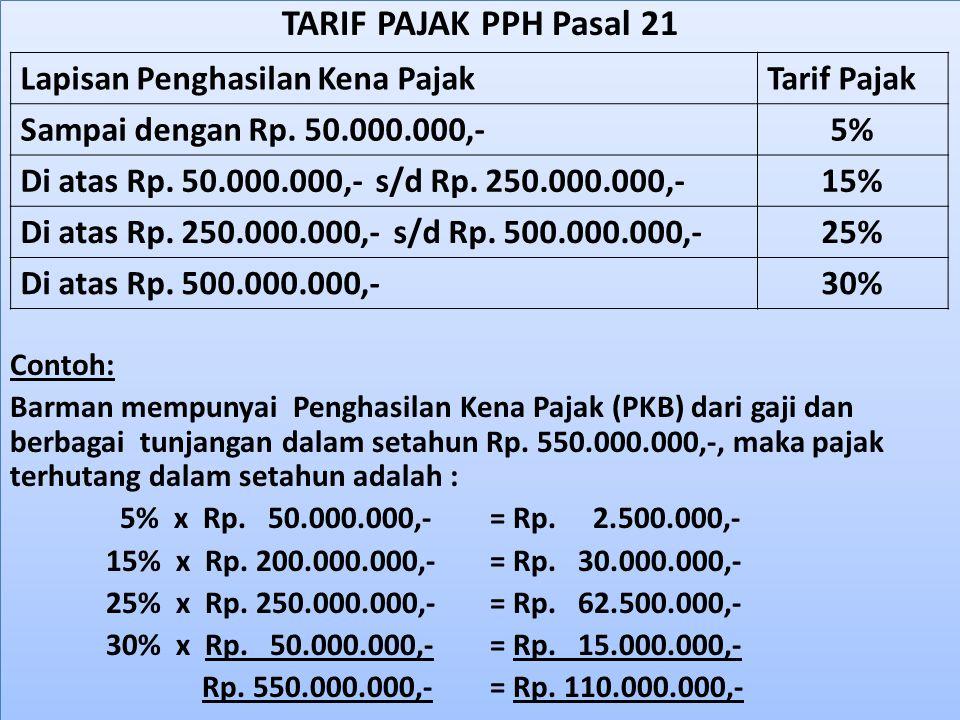 TARIF PAJAK PPH Pasal 21 Contoh: Barman mempunyai Penghasilan Kena Pajak (PKB) dari gaji dan berbagai tunjangan dalam setahun Rp. 550.000.000,-, maka