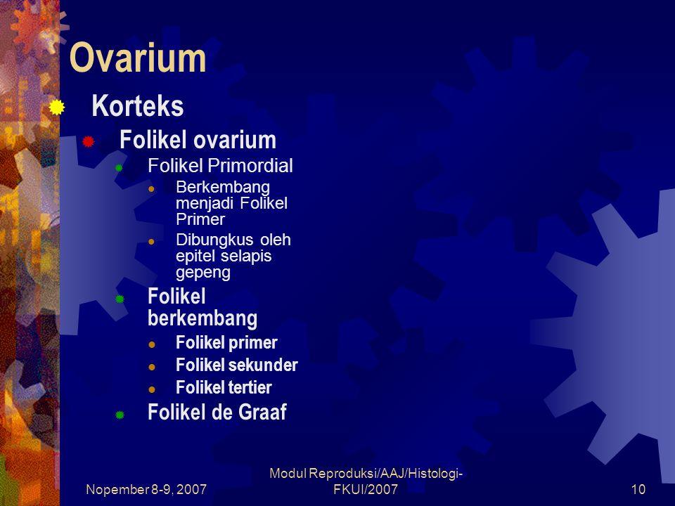 Nopember 8-9, 2007 Modul Reproduksi/AAJ/Histologi- FKUI/200711 Korteks Ovarium