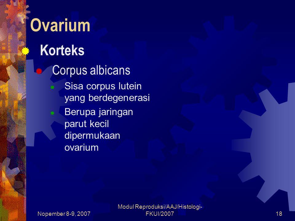 Nopember 8-9, 2007 Modul Reproduksi/AAJ/Histologi- FKUI/200718 Ovarium  Korteks  Corpus albicans  Sisa corpus lutein yang berdegenerasi  Berupa jaringan parut kecil dipermukaan ovarium