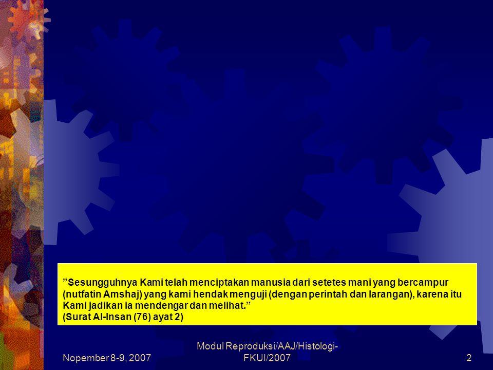 Nopember 8-9, 2007 Modul Reproduksi/AAJ/Histologi- FKUI/20073 SISTEM REPRODUKSI WANITA