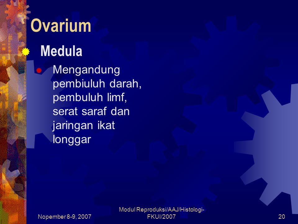 Nopember 8-9, 2007 Modul Reproduksi/AAJ/Histologi- FKUI/200720 Ovarium  Medula  Mengandung pembiuluh darah, pembuluh limf, serat saraf dan jaringan ikat longgar