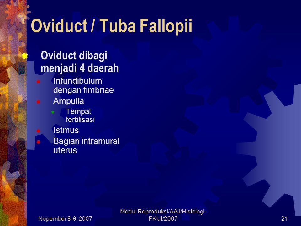 Nopember 8-9, 2007 Modul Reproduksi/AAJ/Histologi- FKUI/200722 Oviduct / Tuba Fallopii  Dinding tuba fallopii  Mukosa  Banyak mengandung lipatan makin ke proksimal makin berkurang  Epitel disusun oleh epitel selapis kolumnar dengan 2 macam sel Sel peg Mensekresikan medium yang mengandung nutrisi untuk sperma dan embrio Sel siliar Mengandung banyak silia yang bergerak ke arah lumen uterus Fungsi : memfasilitasi transportasi embrio yang sedang berkembang ke arah uterus