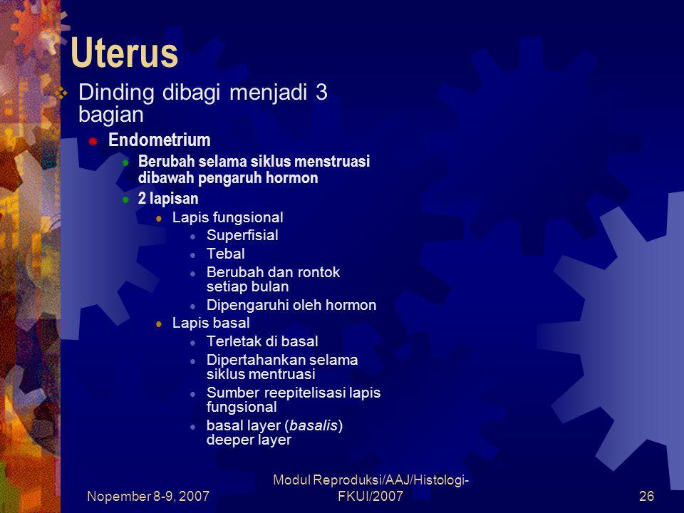 Nopember 8-9, 2007 Modul Reproduksi/AAJ/Histologi- FKUI/200726 Uterus  Dinding dibagi menjadi 3 bagian  Endometrium  Berubah selama siklus menstruasi dibawah pengaruh hormon  2 lapisan Lapis fungsional Superfisial Tebal Berubah dan rontok setiap bulan Dipengaruhi oleh hormon Lapis basal Terletak di basal Dipertahankan selama siklus mentruasi Sumber reepitelisasi lapis fungsional basal layer (basalis) deeper layer