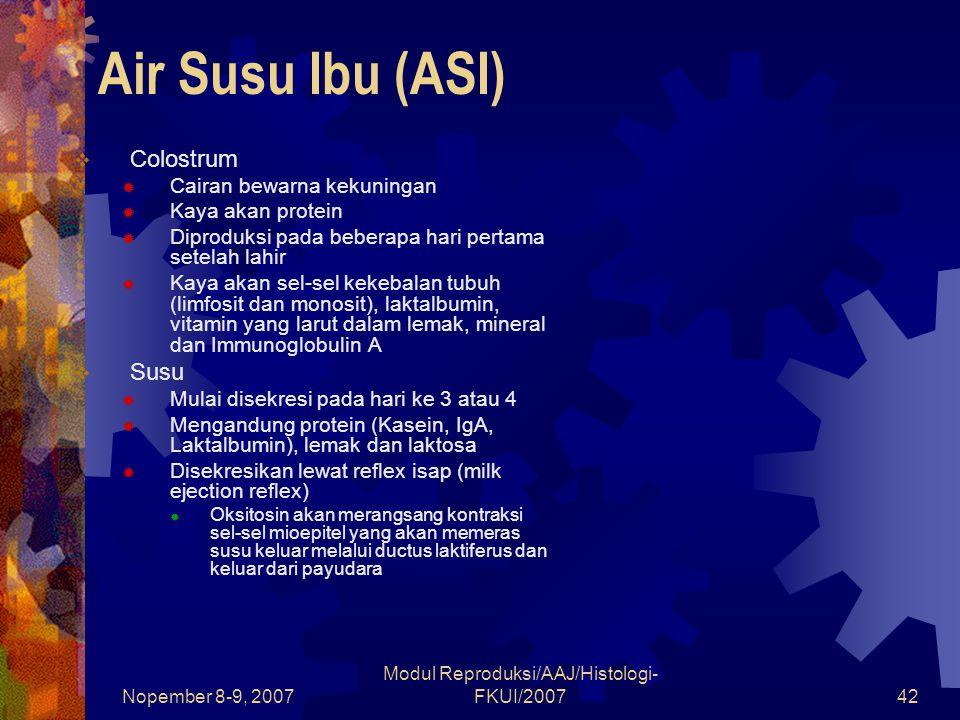Nopember 8-9, 2007 Modul Reproduksi/AAJ/Histologi- FKUI/200742 Air Susu Ibu (ASI)  Colostrum  Cairan bewarna kekuningan  Kaya akan protein  Diprod