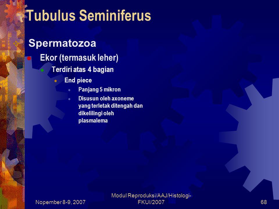 Nopember 8-9, 2007 Modul Reproduksi/AAJ/Histologi- FKUI/200768 Tubulus Seminiferus  Spermatozoa  Ekor (termasuk leher)  Terdiri atas 4 bagian End piece Panjang 5 mikron Disusun oleh axoneme yang terletak ditengah dan dikelilingi oleh plasmalema