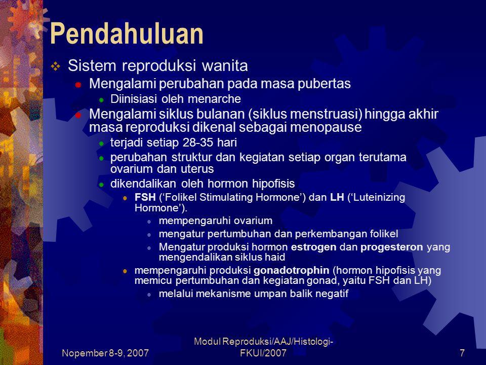 Nopember 8-9, 2007 Modul Reproduksi/AAJ/Histologi- FKUI/20077 Pendahuluan  Sistem reproduksi wanita  Mengalami perubahan pada masa pubertas  Diinisiasi oleh menarche  Mengalami siklus bulanan (siklus menstruasi) hingga akhir masa reproduksi dikenal sebagai menopause  terjadi setiap 28-35 hari  perubahan struktur dan kegiatan setiap organ terutama ovarium dan uterus  dikendalikan oleh hormon hipofisis FSH ('Folikel Stimulating Hormone') dan LH ('Luteinizing Hormone').