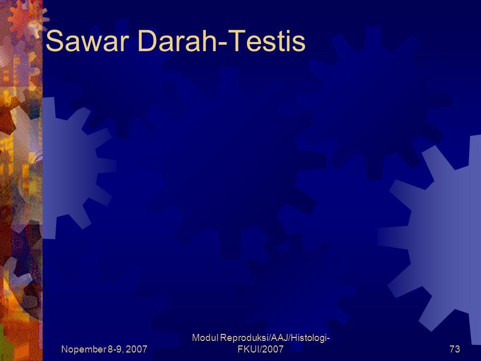 Nopember 8-9, 2007 Modul Reproduksi/AAJ/Histologi- FKUI/200773 Sawar Darah-Testis