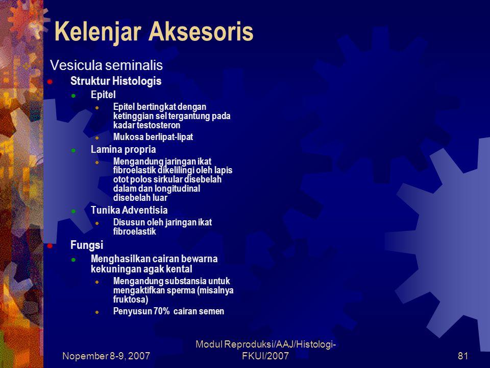Nopember 8-9, 2007 Modul Reproduksi/AAJ/Histologi- FKUI/200781 Kelenjar Aksesoris  Vesicula seminalis  Struktur Histologis  Epitel Epitel bertingka