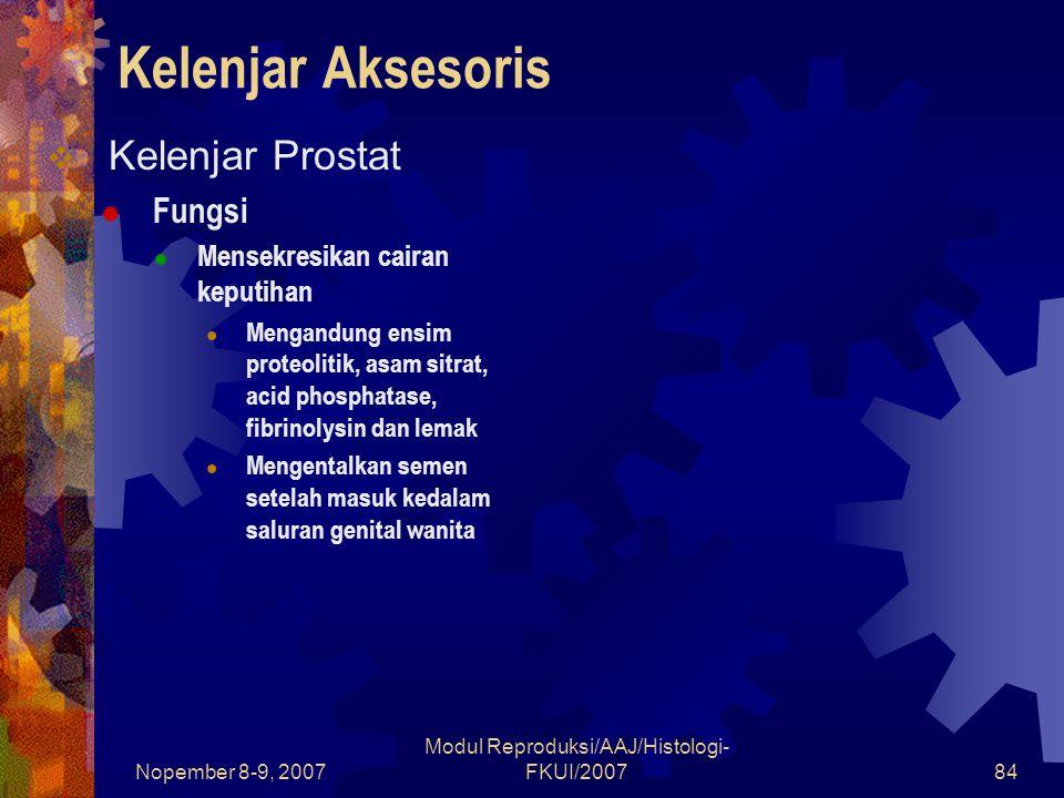 Nopember 8-9, 2007 Modul Reproduksi/AAJ/Histologi- FKUI/200784 Kelenjar Aksesoris  Kelenjar Prostat  Fungsi  Mensekresikan cairan keputihan Mengand