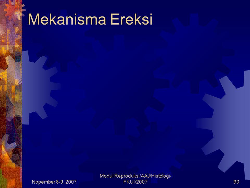 Nopember 8-9, 2007 Modul Reproduksi/AAJ/Histologi- FKUI/200790 Mekanisma Ereksi