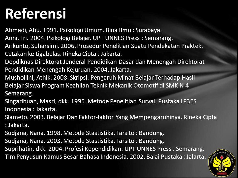 Referensi Ahmadi, Abu. 1991. Psikologi Umum. Bina Ilmu : Surabaya.