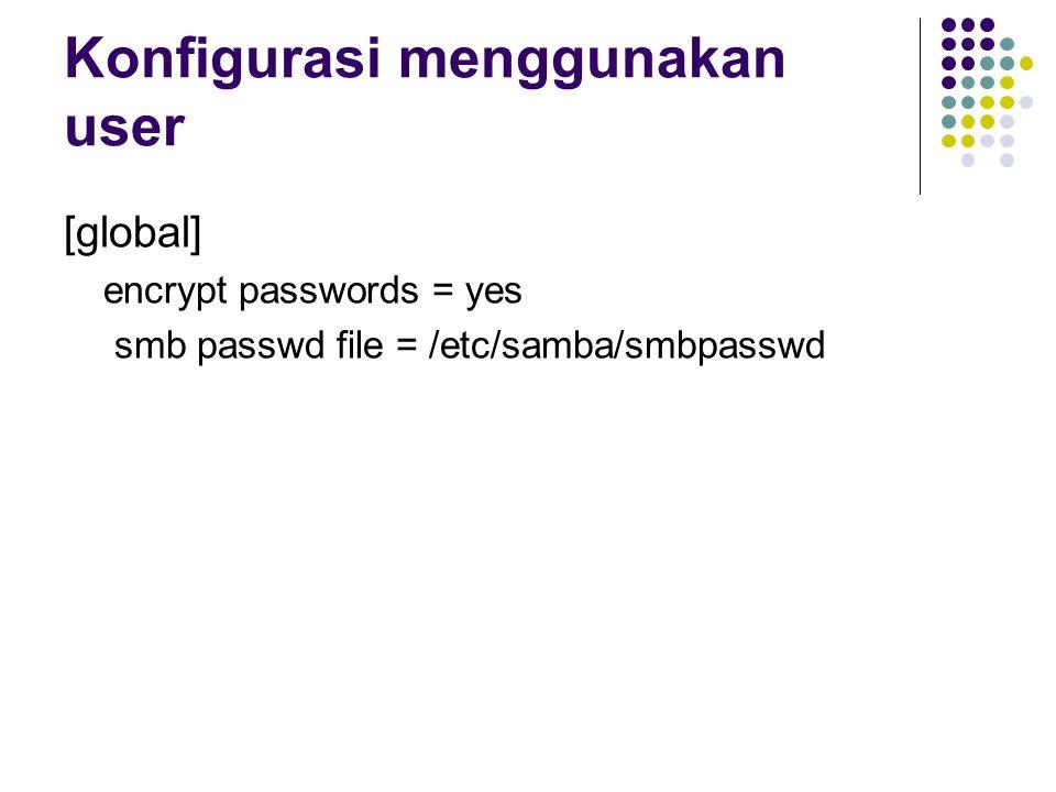 Konfigurasi menggunakan user [global] encrypt passwords = yes smb passwd file = /etc/samba/smbpasswd