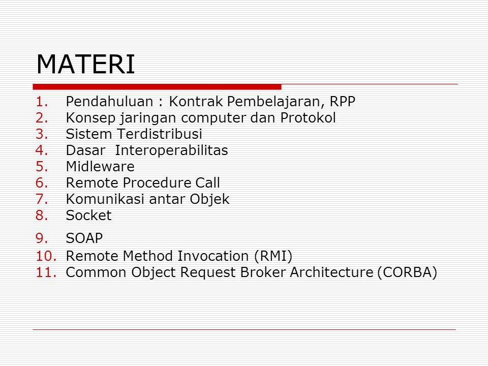 MATERI 1.Pendahuluan : Kontrak Pembelajaran, RPP 2.Konsep jaringan computer dan Protokol 3.Sistem Terdistribusi 4.Dasar Interoperabilitas 5.Midleware 6.Remote Procedure Call 7.Komunikasi antar Objek 8.Socket 9.SOAP 10.Remote Method Invocation (RMI) 11.Common Object Request Broker Architecture (CORBA)