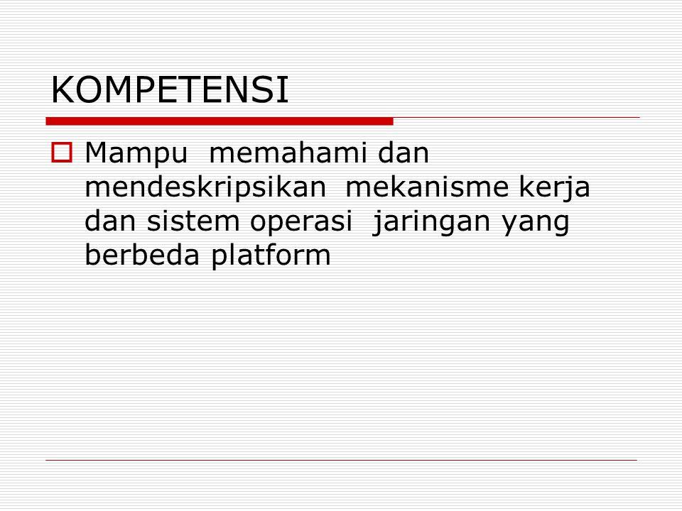 KOMPETENSI  Mampu memahami dan mendeskripsikan mekanisme kerja dan sistem operasi jaringan yang berbeda platform
