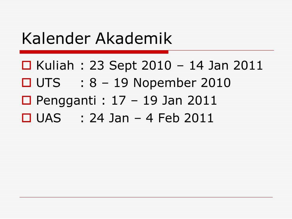 Kalender Akademik  Kuliah: 23 Sept 2010 – 14 Jan 2011  UTS: 8 – 19 Nopember 2010  Pengganti : 17 – 19 Jan 2011  UAS: 24 Jan – 4 Feb 2011