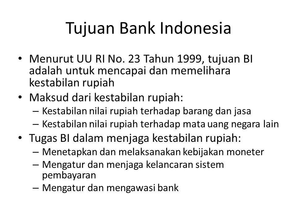 Tujuan Bank Indonesia Menurut UU RI No. 23 Tahun 1999, tujuan BI adalah untuk mencapai dan memelihara kestabilan rupiah Maksud dari kestabilan rupiah: