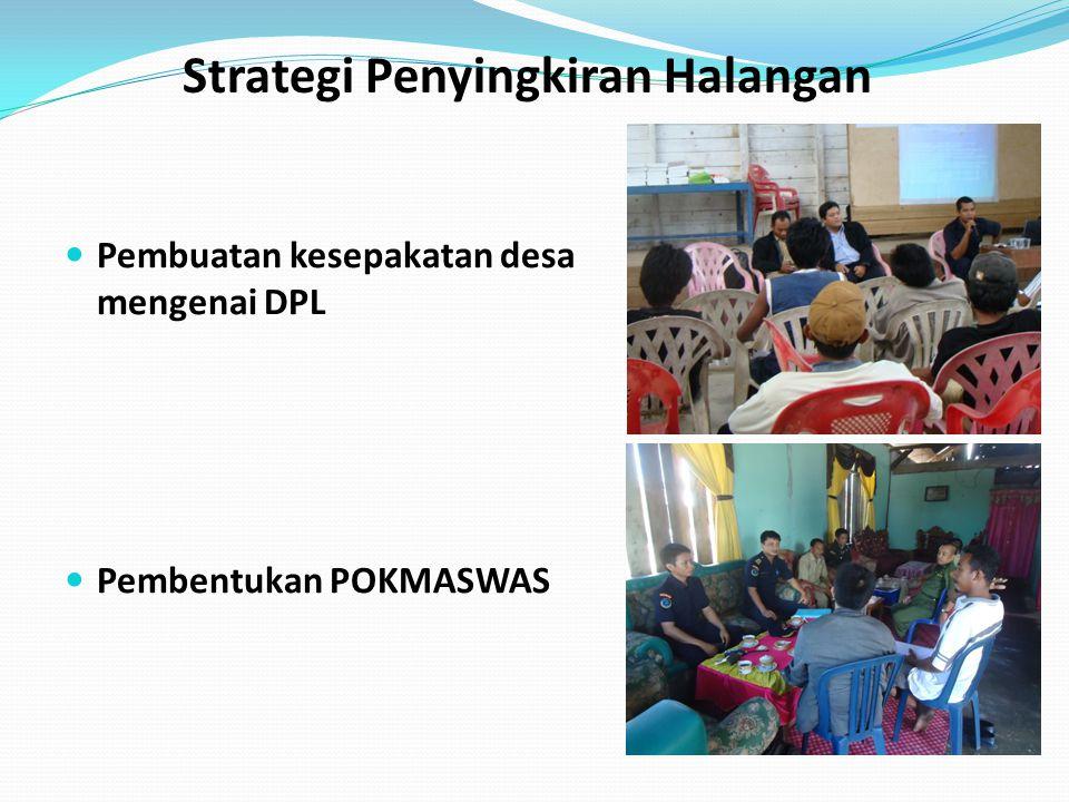 Strategi Penyingkiran Halangan Pembuatan kesepakatan desa mengenai DPL Pembentukan POKMASWAS