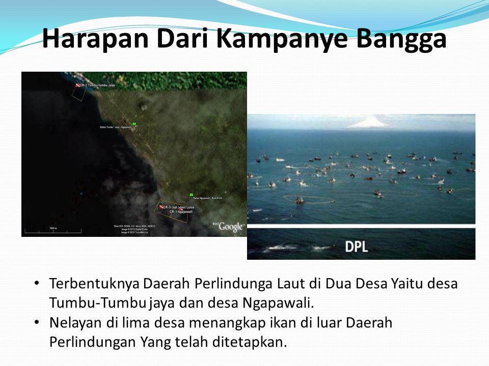 Harapan Dari Kampanye Bangga Terbentuknya Daerah Perlindunga Laut di Dua Desa Yaitu desa Tumbu-Tumbu jaya dan desa Ngapawali. Nelayan di lima desa men