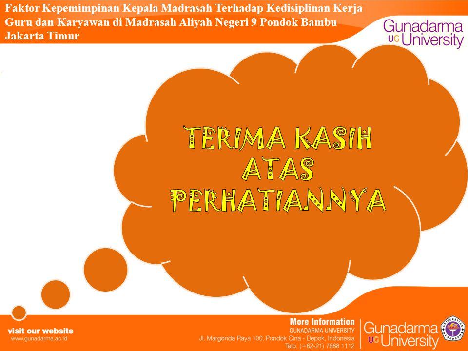 Faktor Kepemimpinan Kepala Madrasah Terhadap Kedisiplinan Kerja Guru dan Karyawan di Madrasah Aliyah Negeri 9 Pondok Bambu Jakarta Timur