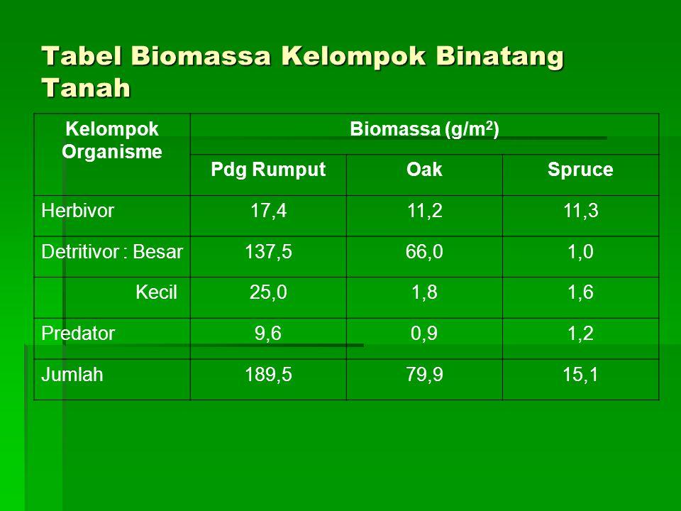Tabel Biomassa Kelompok Binatang Tanah Kelompok Organisme Biomassa (g/m 2 ) Pdg RumputOakSpruce Herbivor17,411,211,3 Detritivor : Besar137,566,01,0 Kecil25,01,81,6 Predator9,60,91,2 Jumlah189,579,915,1