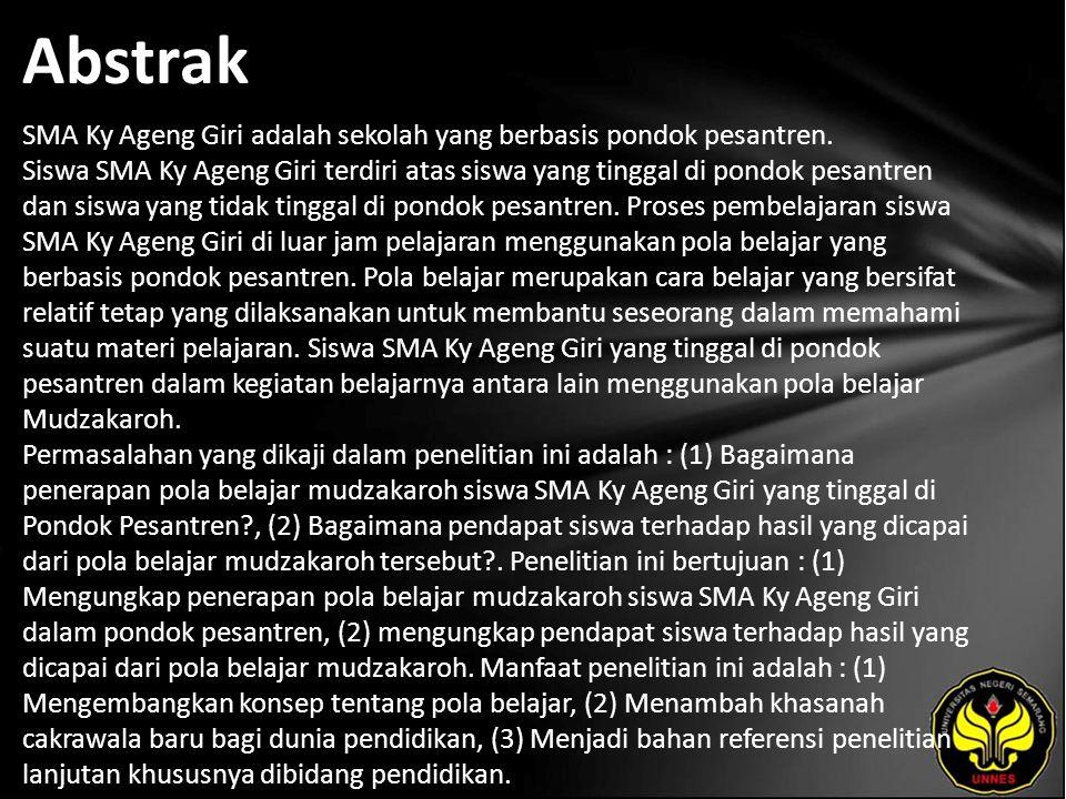 Abstrak SMA Ky Ageng Giri adalah sekolah yang berbasis pondok pesantren.