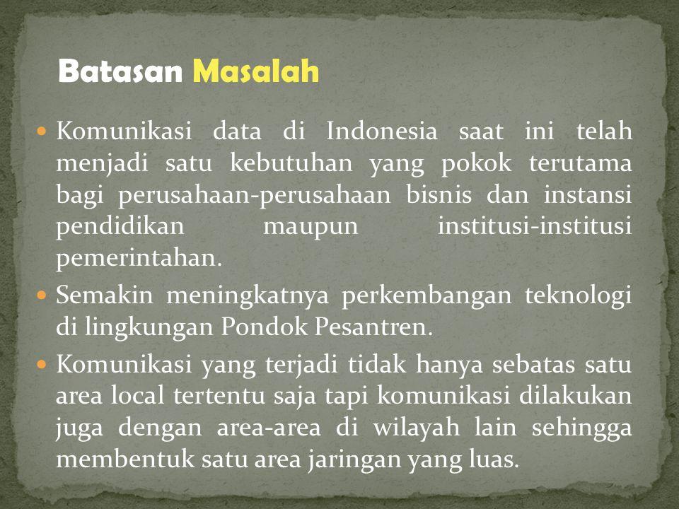 Komunikasi data di Indonesia saat ini telah menjadi satu kebutuhan yang pokok terutama bagi perusahaan-perusahaan bisnis dan instansi pendidikan maupun institusi-institusi pemerintahan.