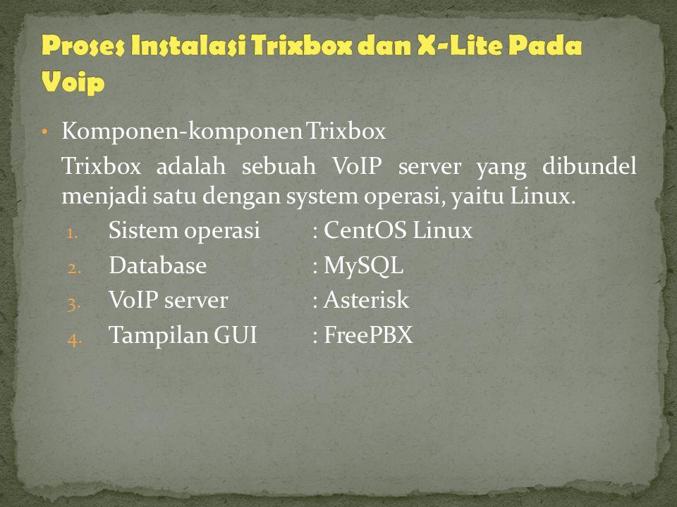 Komponen-komponen Trixbox Trixbox adalah sebuah VoIP server yang dibundel menjadi satu dengan system operasi, yaitu Linux.