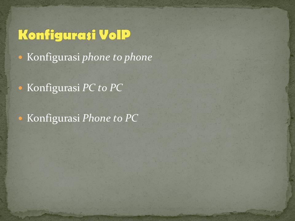 Konfigurasi phone to phone Konfigurasi PC to PC Konfigurasi Phone to PC